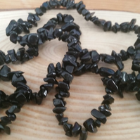 Black Onyx Gemstone 36 Inch Chip String