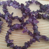 Amethyst Chip Bead 36 Inch String