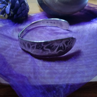 Upcycled Silver Plated Etched Butter Knife Bangle SPBA121405