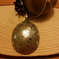 Upcycled Silver Plated Spoon Etched Sparkle Christmas Decoration SPX111502