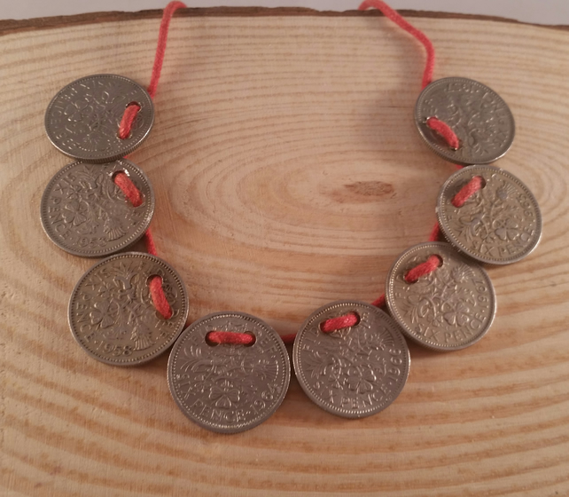 Upcycled Sixpence On Red Cord Adjustable Bracelet SPBA101501