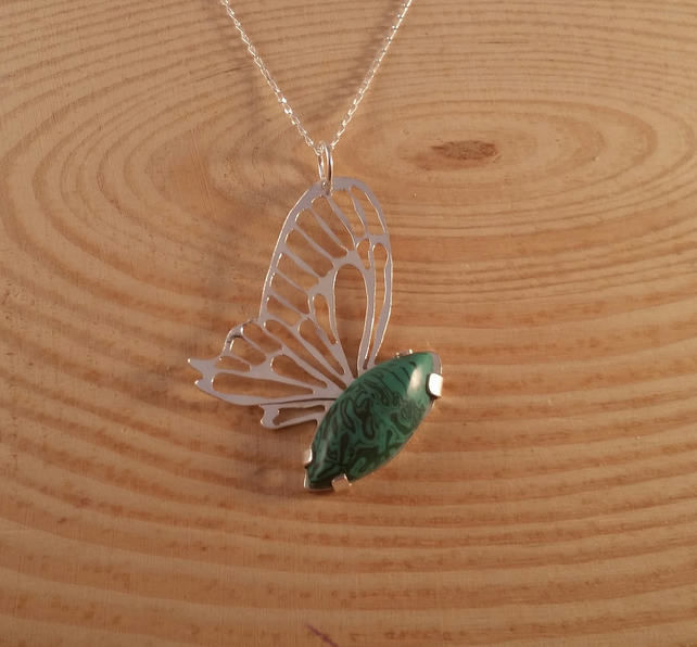 Sterling Silver and Malachite Butterfly Necklace