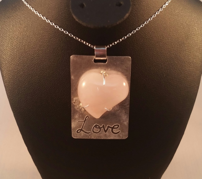 Sterling Silver 'Love' Necklace with Rose Quartz Heart  Cabochon