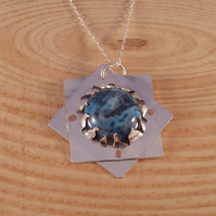 Sterling Silver and Blue Ocean Jasper Necklace