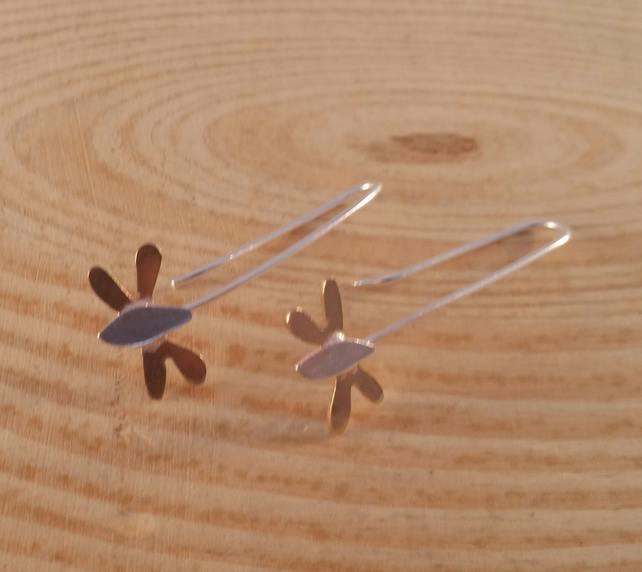 Sterling Silver and Brass Dragonfly Earrings