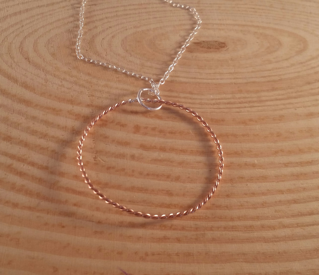 Sterling Silver and Copper Twisted Hoop Necklace