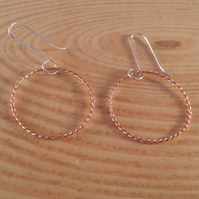Sterling Silver and Copper Twisted Hoop Earrings