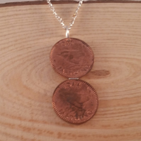 Upcycled Double Farthing Necklace SPN111506