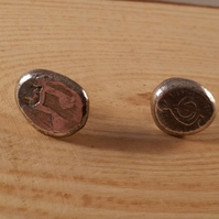 Sterling Silver Etched Music Studs