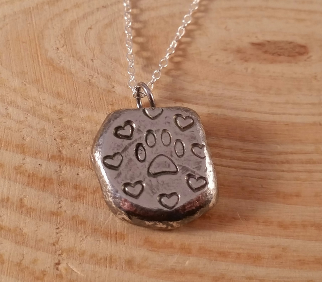 Sterling Silver Stamped Paw Print Necklace