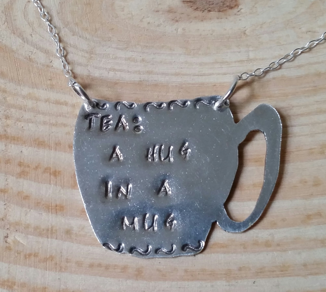 Sterling Silver 'Tea: Hug In A Mug' Necklace
