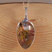 Upcycled Silver Plated Fuchsia Resin Spoon Necklace  SPN051606