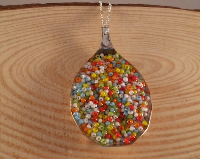 Upcycled Silver Plated Seed Bead Spoon Necklace SPN051613