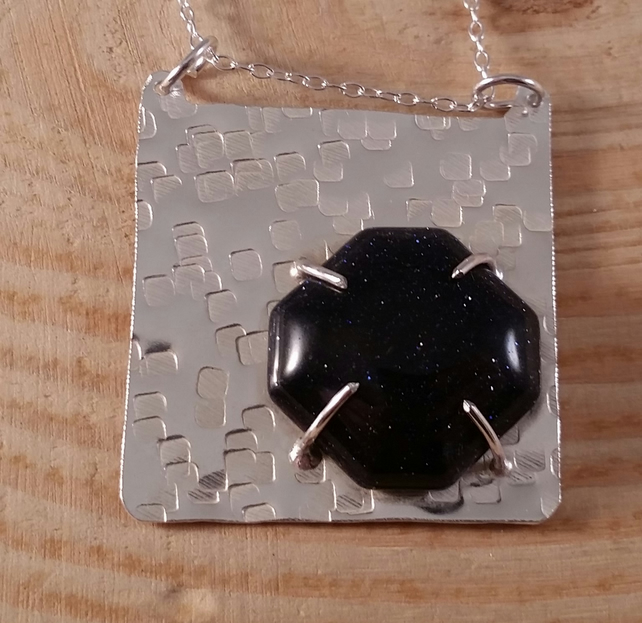 Sterling Silver and Octagonal Blue Goldstone Hammered Necklace