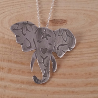 Sterling Silver Etch Sugar Skull Elephant Necklace