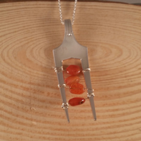Silver Plated Upcycled Carnelian Chip Fork Necklace SPN111601