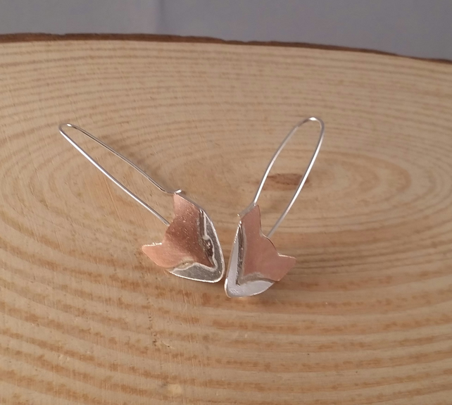 Sterling Silver and Copper Fox Head Long Drop Earrings