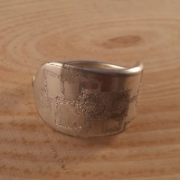 Upcycled Silver Plated Spoon Handle Ring With Engraved Squares SPR051602