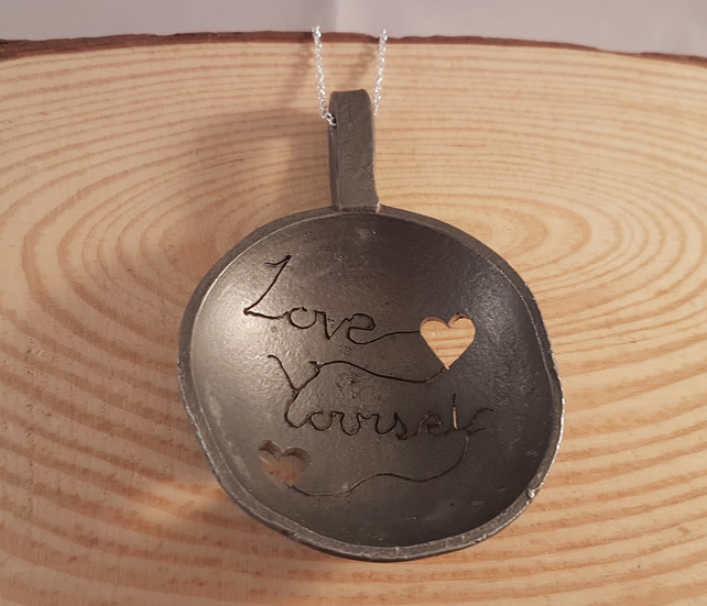Upcycled Pewter Pierced 'Love Yourself' Large Statement Spoon Necklace