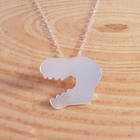 Sterling Silver Dinosaur Head Necklace