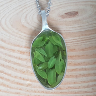 Upcycled Silver Plated Leaf Filled Spoon Necklace SPN041704