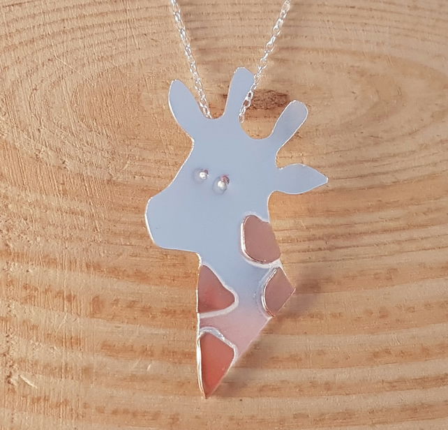 Sterling Silver and Copper Giraffe Necklace