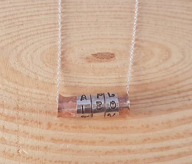 Sterling Silver and Copper 'Faith Hope Love' Spinner Necklace