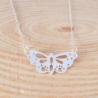 Sterling Silver Pierced Butterfly Necklace