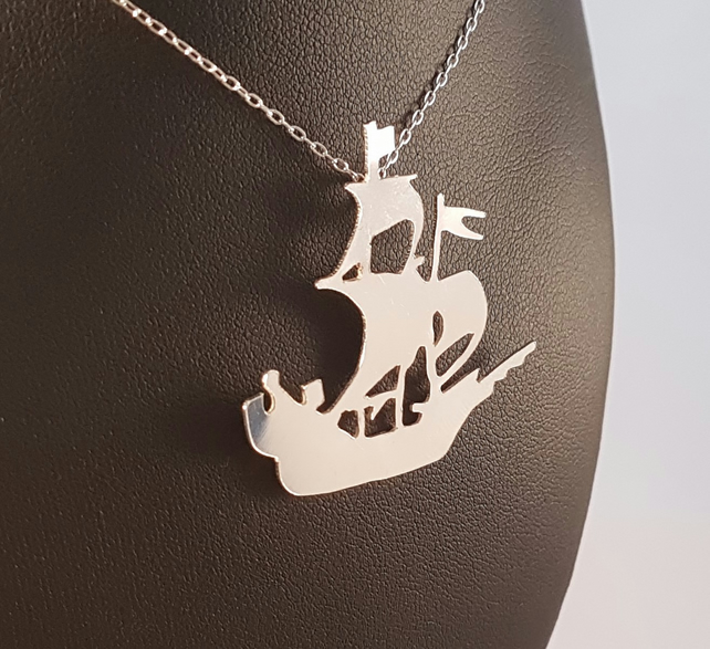 Sterling Silver Pirate Ship Necklace