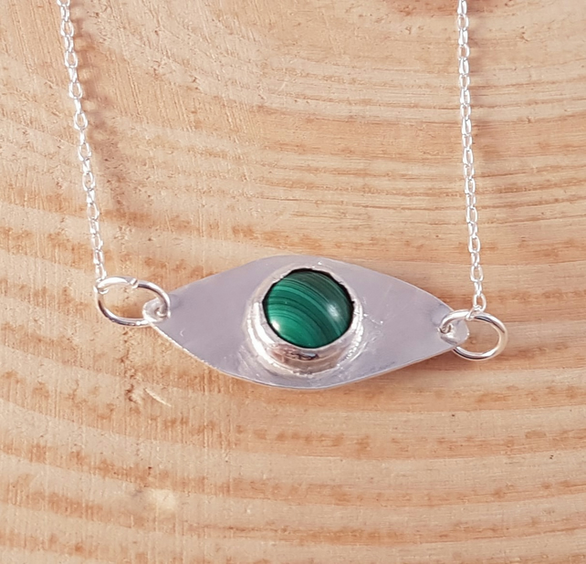 Sterling Silver and Malachite Cabochon Eye Necklace