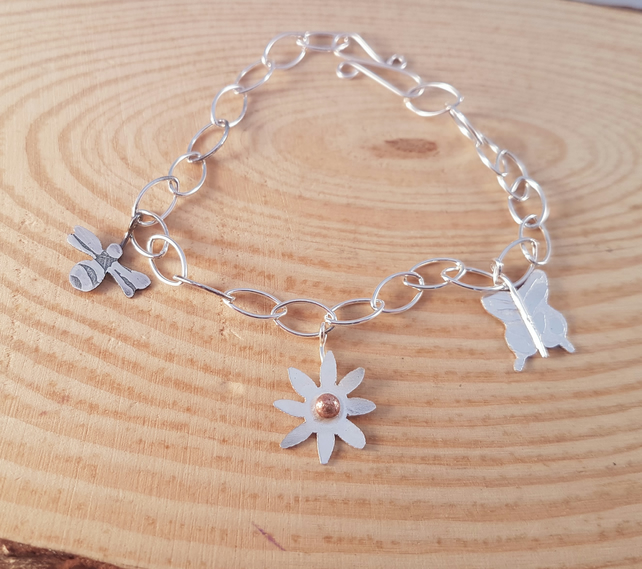 Sterling Silver Garden Bracelet With Bee, Flower and Butterfly