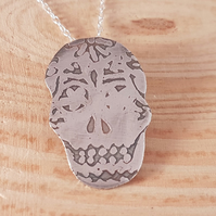 Sterling Silver Etched Sugar Skull Necklace