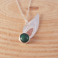 Sterling Silver, Copper and Malachite Leaf Necklace