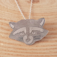 Sterling Silver Etched Raccoon Necklace