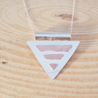 Sterling Silver and Copper Geometric Triangle Necklace