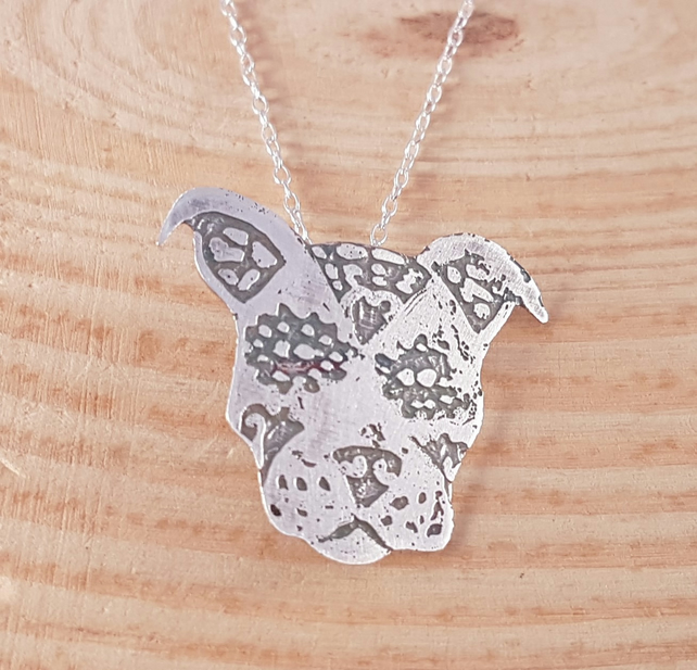 Sterling Silver Etched Sugar Skull Staffy Dog Necklace