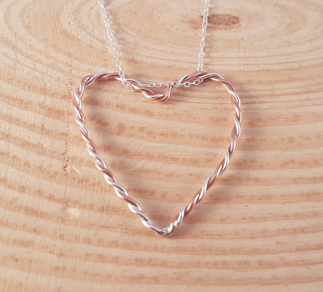 Sterling Silver and Copper Twisted Wire Heart Necklace