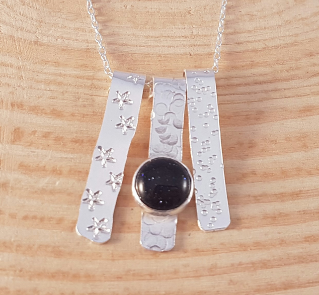 Sterling Silver Textured Strips Necklace with Blue Goldstone Cabochon