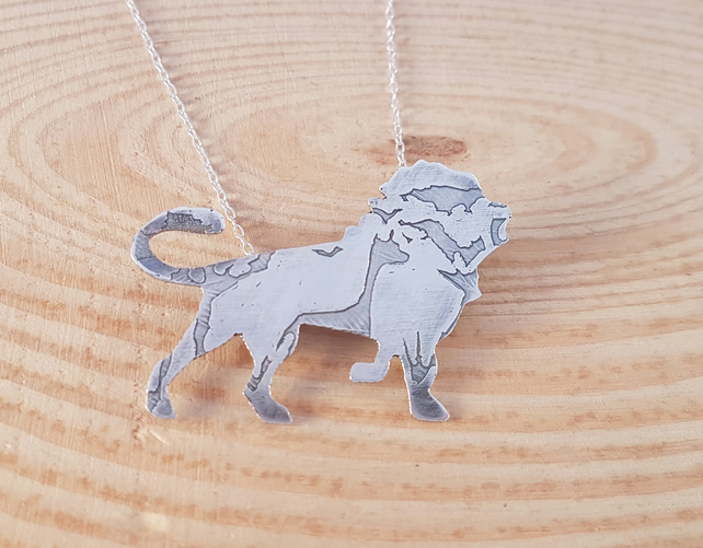 Sterling Silver Etched Silhouette Lion Necklace