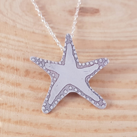 Sterling Silver Etched Starfish Necklace