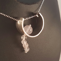 Sterling Silver and Rose Quartz Arc Necklace