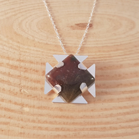 Sterling Silver and Square Agate Cross Necklace