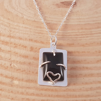 Sterling Silver Onyx Heart Claw Set Necklace