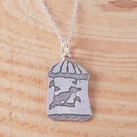Sterling Silver Etched Birdcage Necklace