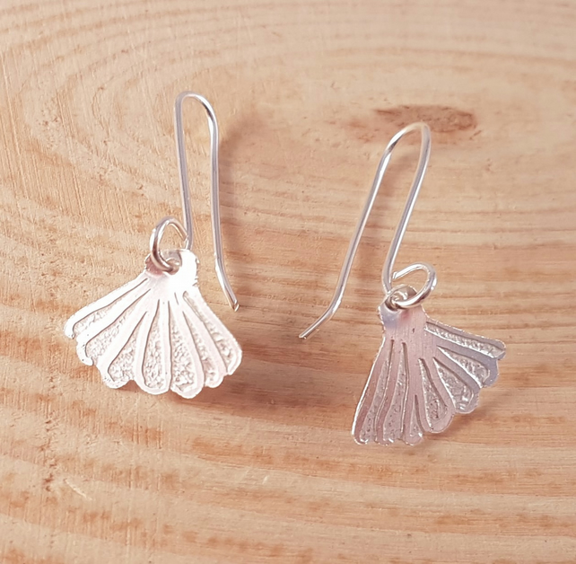 Sterling silver Etched Shell Drop Dangle Earrings