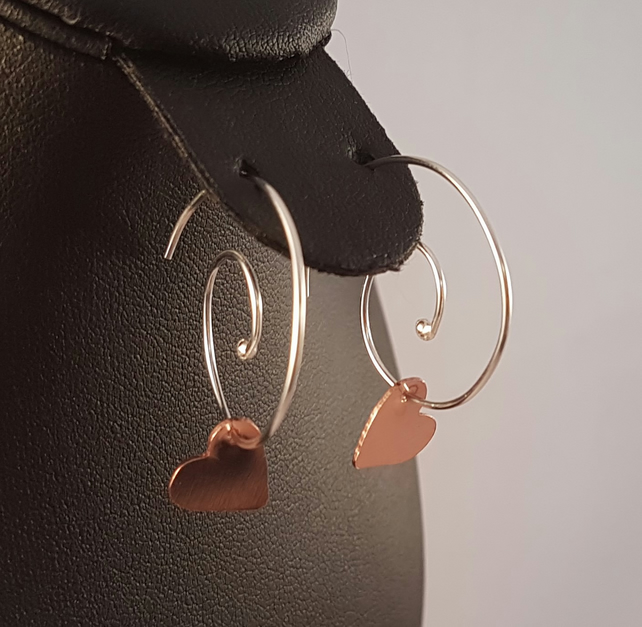 Sterling Silver and Copper Heart Spiral Drop Dangle Earrings