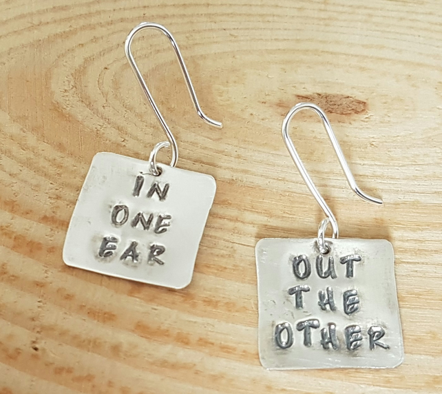 Sterling Silver Stamped 'In One Ear' 'Out The Other' Drop Dangle Earrings