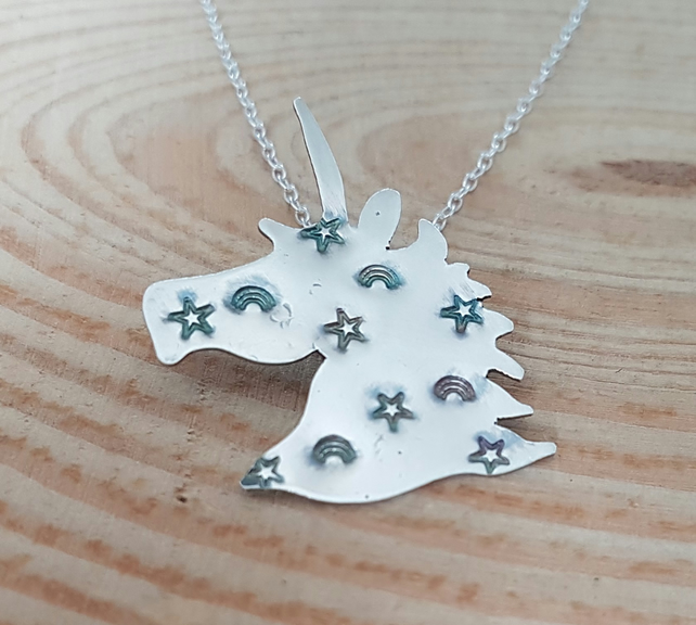 Sterling Silver Star and Rainbow Stamped Unicorn Necklace