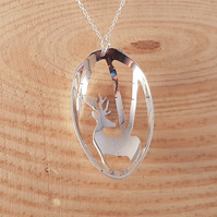 Sterling Silver Upcycled Pierced Stag Spoon Necklace Pendant
