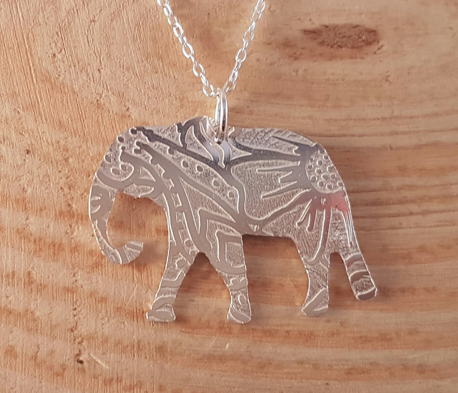 Sterling Silver Etched Mehndi Elephant Necklace
